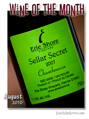 August 2010 - Wine of The Month, Erie Shore Sellar Secret 2007
